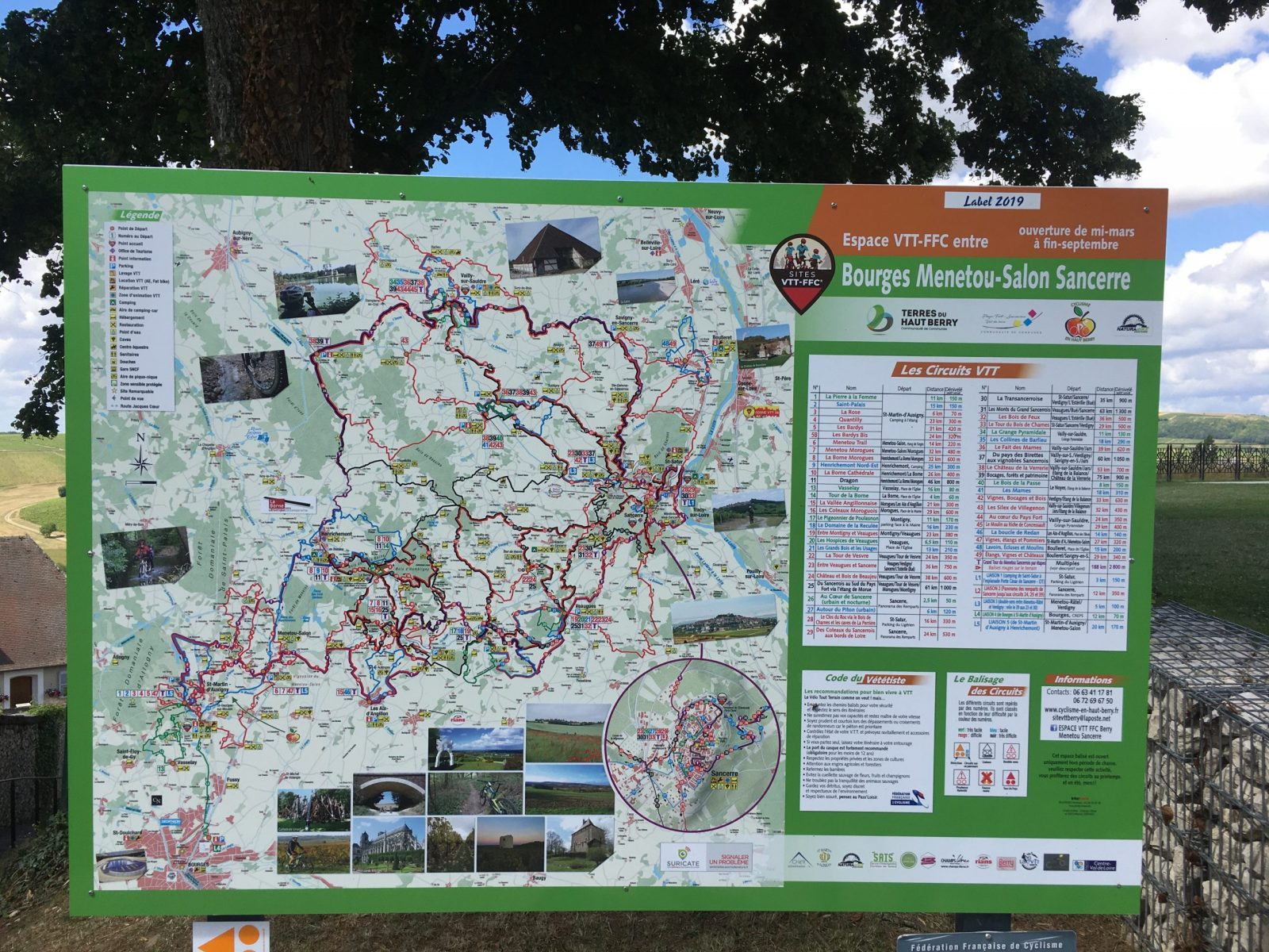 Carte VTT Bourges Menetou-Salon Sancerre